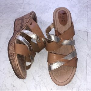 BOC Cork Wedge Sandal Heel Leather Strappy Slip on